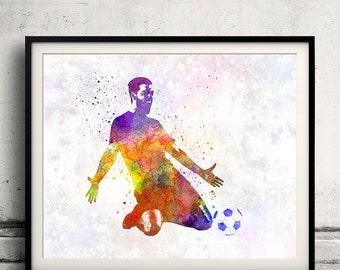 Man soccer football player 13 - poster watercolor wall art gift splatter sport soccer illustration print artistic - SKU 1457
