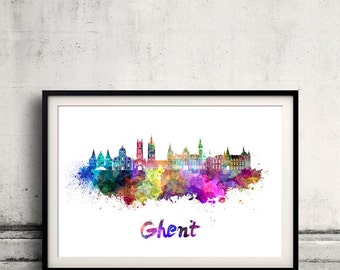 Ghent skyline in watercolor over white background with name of city - Poster Wall art Illustration Print - SKU 1574