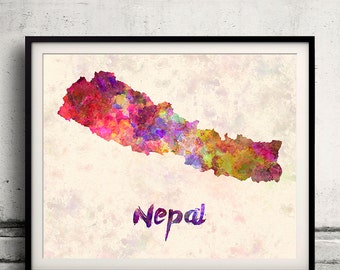 Nepal - Map in watercolor - Fine Art Print Glicee Poster Decor Home Gift Illustration Wall Art Countries Colorful - SKU 1826