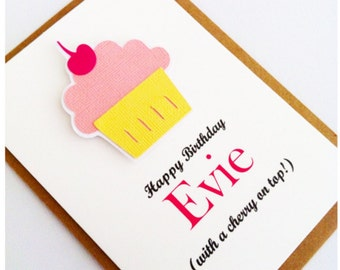 Personalised Girl Birthday Card - Cupcake 'with a cherry on top'