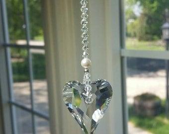 glass suncatcher Crystal heart, hanging crystal, window decoration, crystal suncatcher, crystal hanger, rv decoration, light catcher