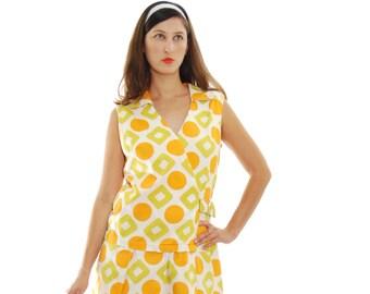 1950 Vintage Dress.50's Dress.Women's Dresses.Olive&Orange Geometric Vintage Dress For Women 1950's.Free Shipping.Size M