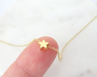Tiny Star Necklace, 14K Gold fill chain, Rose Gold fill. Sterling silver, Delicate floating Star Necklace