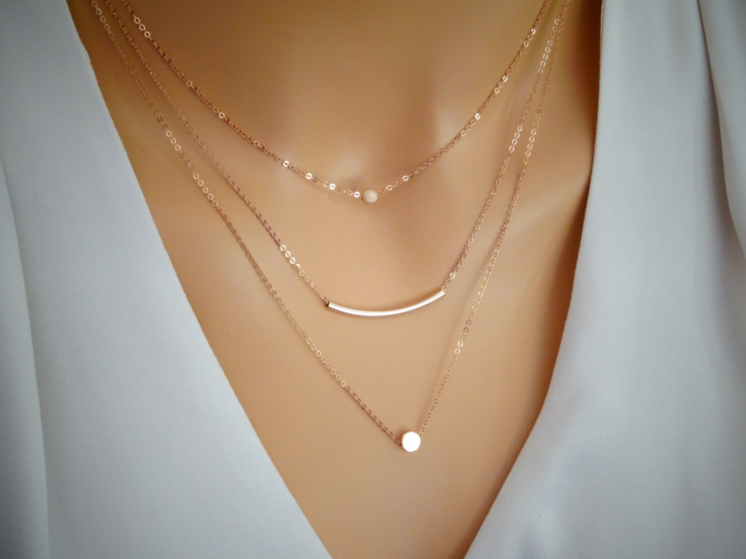 Rose Gold Layered Necklace Dot Necklace Stardust Amp Curved