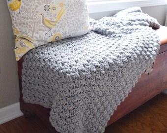 Large Crochet Blanket // Gray Crochet Afghan Blanket // Crocheted Throw Blanket // Blankets and Throws