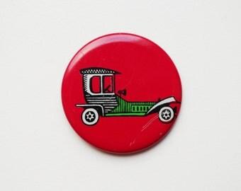 Vintage (4 cm) 1.57'' car automobile cartoon brooch badge token clasp pinion pin button cordon band medallion pinback inve