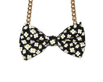 Black Bow Tie Necklace - Bow Jewelry, Accessories, Statement Necklace - Easy No Tie Bow Tie - Great for Office, Wedding - Daisy