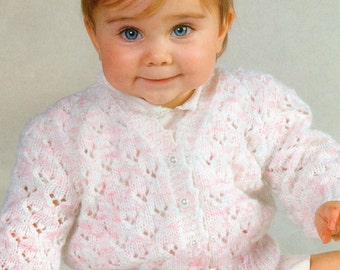 Knitting Pattern - Baby Girl's Lacy Cardigan - 18 to 24 inches - DK yarn