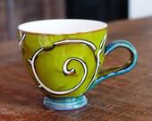 Green Mug, Mug, Pottery Mug, Ceramic Mug, Tea Mug, Coffee Mug, Danko, Cute Mug, Unique Mug, Handmade Green Mug