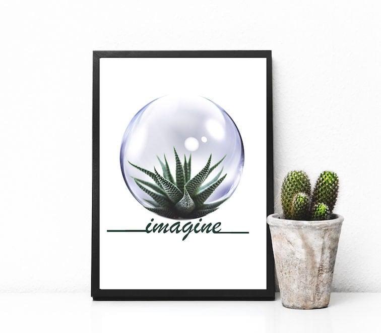 affiche cactus affiche citation affiche d corative poster. Black Bedroom Furniture Sets. Home Design Ideas