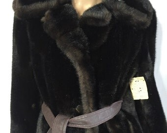 Vintage 60s Faux Sable Fur Coat - Brown Fake Fur Jacket - 1960s  Grandella Fairmoor Coat R. J. Stearns NWT