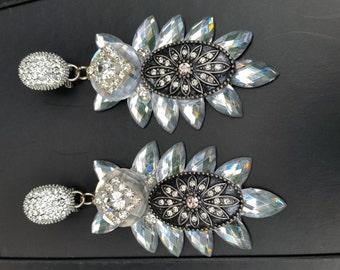 Silver Elegant  Unique Wedding Earrings