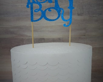 "Blue Glitter ""It's A Boy"" Cake Topper  -  Baby Shower - New Baby"