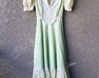 Pale green and yellow cotton maxi dress