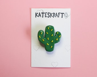 CACTUS BROOCH   Hand Sculpted, Hand Painted Polymer Clay Jewellery Accessory