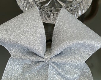 Silver Glitter Cheer Bow
