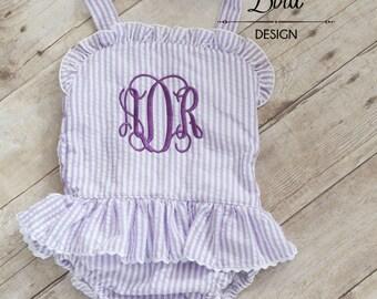 Baby Girls Swimsuit - Toddler Girls Swimsuit - Seersucker Monogrammed Swimsuit - Girls Swimwear - Girls Ruffle Swimsuit