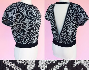 Cropped Retro, 80s Sweater // Black & Silver Print, Vintage 1980s, Cut Out Back, Women Size Small, Medium