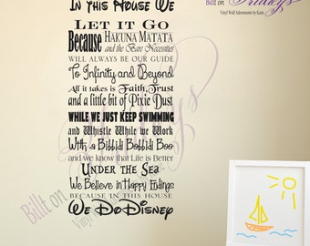Disney Themed In This House Rules Subway Art Vinyl Wall Decal Sticker