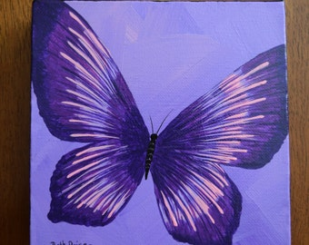 Original Purple and Pink Butterfly Handpainted on a 6x6 canvas