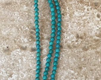 "Genuine Natural Turquoise Round Beads - Not Treated or Dyed - FULL 16"" strand of 3mm accent beads, about (135) beads - G1009"