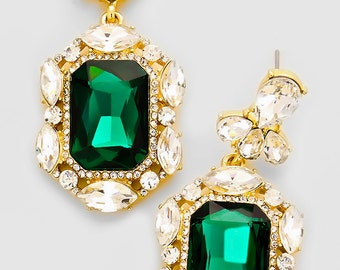 Emerald Green and Gold Vintage Victorian  Bridal Earrings