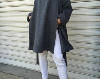 Wool Poncho Coat with Pockets / Women Cape Coat / Cashmere Poncho Coat / Long Sleeve Trench Coat / Wool Vest / EXPRESS SHIPPING