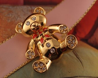 Vintage Teddy Bear Brooch Signed Monet Gold Tone with Red Enamel Bow