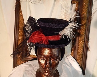 Steampunk Mini Top Hat Headband in Black, Red and White