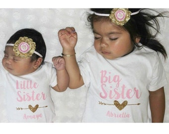 Big Sister Little Sister shirt set, coming home outfit newborn sibling glitter