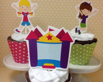 Boys and Girls Bounce House Party Cupcake Topper Decorations