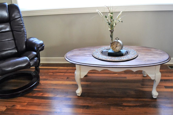 Chalk Painted Annie Sloan Oval Coffee Table With Stained Top