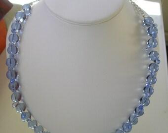 Sky Blue Glass Bead Necklace