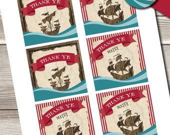 Pirate Birthday Gift Tags, Pirate Gift Tags, Pirate Gift Tags
