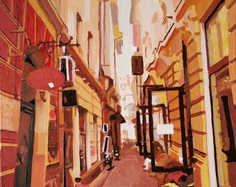 An urban scene oil painting on canvas