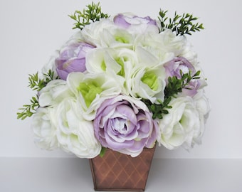 Silk Centerpiece with Roses and Ranunculus - Artificial Flower Arrangement with Purple Roses