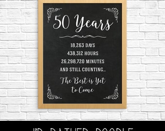 50th anniversary gift 50th year wedding anniversary 50th anniversary sign anniversary chalkboard