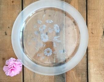"""Avon Hummingbird 12"""" Crystal Serving Platter"""