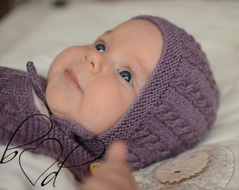 Knitted Baby Bonnet, Knit Baby Girl Bonnet, Knit Baby Boy Bonnet, Knit Purple Baby Hat, Hand Knit Baby Hat, Wool Baby Hat, Winter Baby Hat
