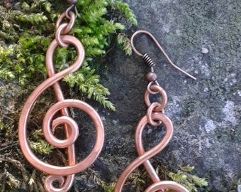 Handmade Violin Clef Copper Earrings