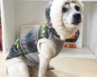 "Dog Clothes Dog Hoodie ""Hedgehog"" Green"