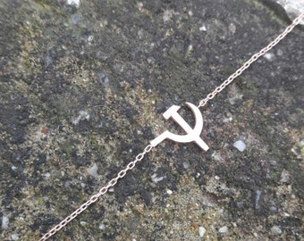 FREE SHIPPING !!! Necklace - Gold Communist Necklace -8K Gold - 14K Gold - Asymmetrical Mini Necklace - Asymmetrical Necklace