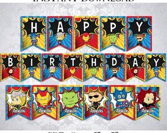 50% OFF SALE Banner SuperHeroes Super Heroes SuperHero Super Hero Happy Birthday, PDF Instant Download