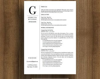 Professional Resume Template | CV Template |  Cover Letter | Editable PDF | Instant Download | Modern Resume Design | Mac / Pc