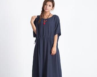 50% SALE - 24# Tan Women's Oversize Dress linen Casual dress cotton caftan linen kaftan plus size clothing Custom_made clothing A31