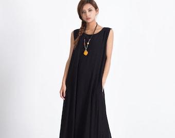 Women's Linen cotton fitting maxi dress Oversize long caftan linen cotton dress plus size clothing large size dress Custom made clothes A80