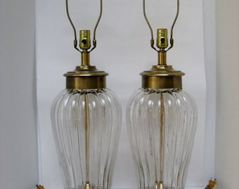 Italian Glass & Brass Lamps, Pair