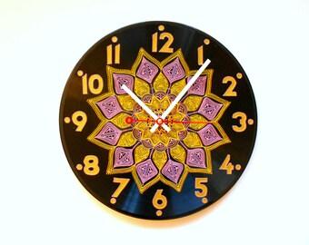 Art Clock Orange Clock Vinyl Clock Hand Painted Clock Record Clock Dot Painting Wall Clock Unique Clock Home Decor Round Clock Kitchen Clock
