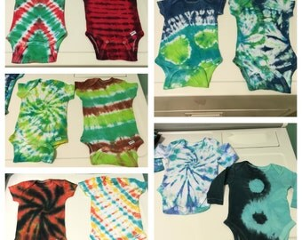Custom tie-dyed onesies! You choose the colors, style, size, and sleeve length -- specially made, just for your baby!