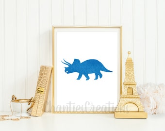 Triceratops Dark Blue Watercolor Wall Art Printable. Printable Dinosaur Wall Art for Little Boys Room.